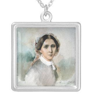 クララ・シューマン1853年のポートレート シルバープレートネックレス