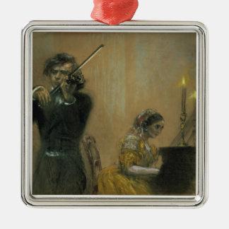 クララ・シューマン(1819-96年)およびバイオリン奏者1854年(pa メタルオーナメント