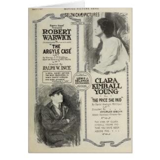 クララKimballの若者1917年の無声映画の展示者の広告 カード