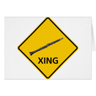 クラリネットの交差のハイウェーの印 グリーティングカード