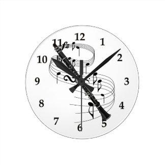 クラリネット ラウンド壁時計