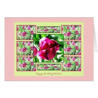 クランベリーのチューリップのコラージュのハッピーバースデーカード カード