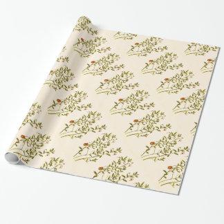 クランベリーの植物のヴィンテージのイラストレーション ラッピングペーパー