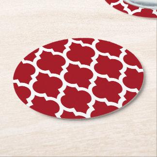 クランベリーの赤く白いモロッコのクローバーパターン#4 ラウンドペーパーコースター