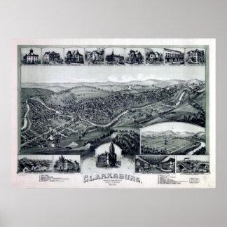 クラークスバーグWV 1898年 ポスター