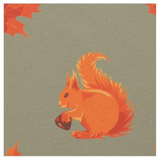 クリおよび赤の葉を持つかわいいアカリス ファブリック