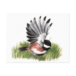 クリに支えられる《鳥》アメリカゴガラの絵 キャンバスプリント