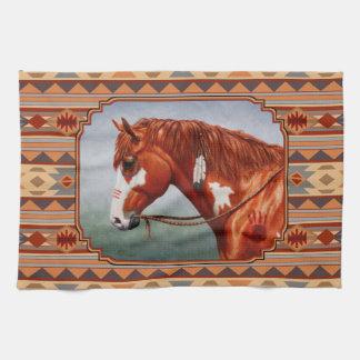 クリのまだら馬の馬の南西インドのデザイン キッチンタオル