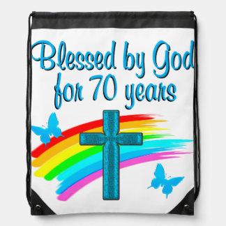 クリスチャンの第70誕生日の十字および虹 ナップサック