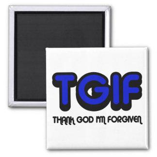 """クリスチャン""""TGIF""""は私が許される神を感謝していしています マグネット"""