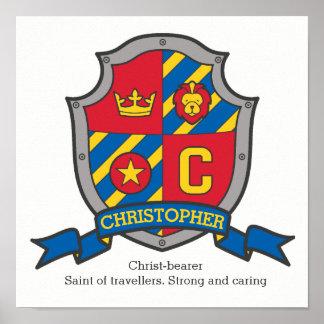 クリストファーの男の子の一流の意味紋章学の盾 ポスター