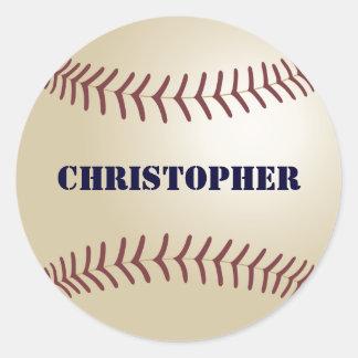 クリストファーの野球のステッカー/シール ラウンドシール