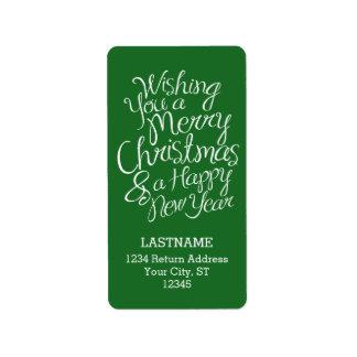 クリスマスおよび新年のお洒落なタイポグラフィ 宛名ラベル