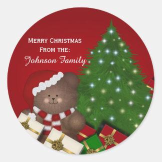 クリスマスくまの名前入りなステッカー ラウンドシール