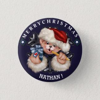 クリスマスくま1の小さいボタン 3.2CM 丸型バッジ