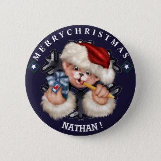 クリスマスくま1小さいボタン2の¼のインチ 5.7CM 丸型バッジ