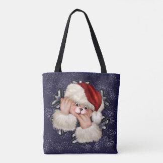 クリスマスくま3の全にプリントのトートバック トートバッグ