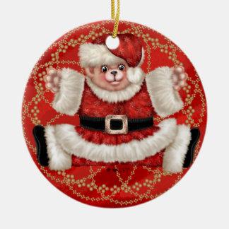 クリスマスくま5の円のオーナメント セラミックオーナメント