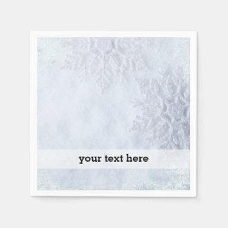 クリスマスによって凍っていられている雪片 スタンダードカクテルナプキン