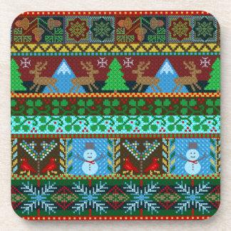 クリスマスによって編まれるセーターパターントナカイの休日 コースター