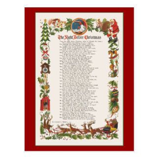 クリスマスによって飾られる詩の前の夜 ポストカード