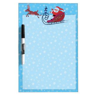 クリスマスのおもしろいな絵。 ルドルフが付いているサンタ ホワイトボード