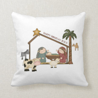 クリスマスのお洒落な飼い葉桶場面枕 クッション