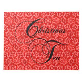 クリスマスのお茶会、赤いレース ノートパッド