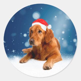 クリスマスのかわいいゴールデン・リトリーバー犬のサンタの帽子の雪 ラウンドシール
