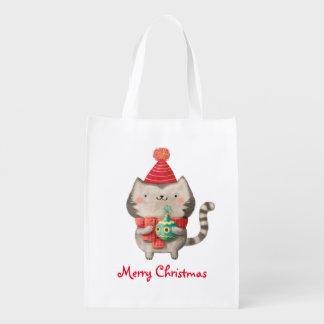 クリスマスのかわいい猫 エコバッグ