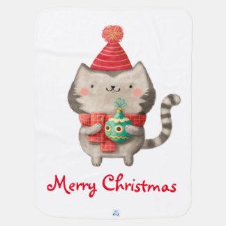 クリスマスのかわいい猫 ベビー ブランケット
