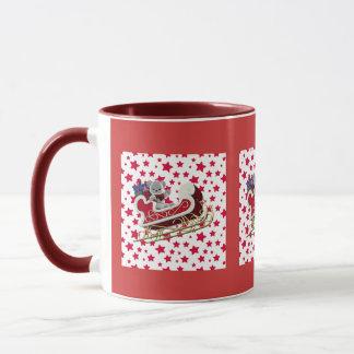 クリスマスのそりのテディ マグカップ