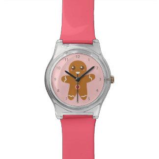 クリスマスのためのかわいく、幸せなジンジャーブレッドマン 腕時計