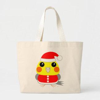クリスマスのためのオカメインコのCockatielのオウムサンタ ラージトートバッグ