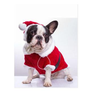 クリスマスのためのサンタの衣裳のフレンチ・ブルドッグ ポストカード