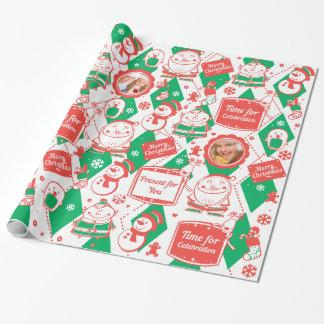クリスマスのための赤いおよび緑パターン ラッピングペーパー