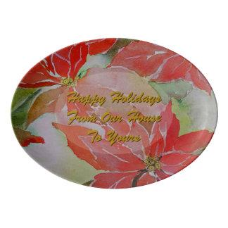 クリスマスのための赤いポインセチア 磁器大皿