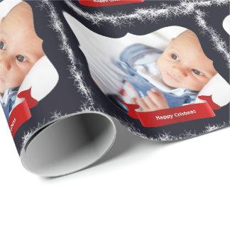 クリスマスのための青い雪片のベビーの写真のギフト用包装紙 ラッピングペーパー