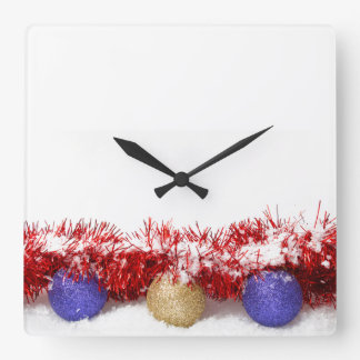 クリスマスのつまらないもののチンサルおよび雪正方形のWallclock スクエア壁時計