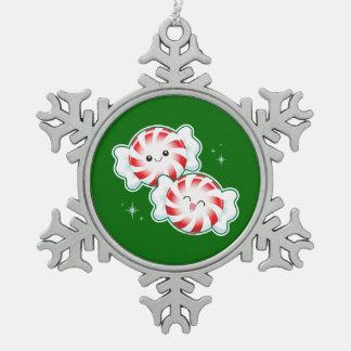 クリスマスのはっか菓子 スノーフレークピューターオーナメント