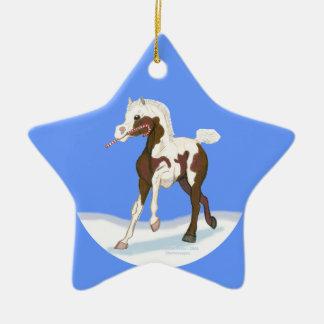 クリスマスのまだら馬の子馬 セラミックオーナメント