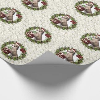 クリスマスのろばのサンタのリースの包装紙 ラッピングペーパー