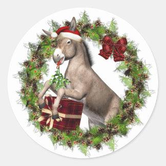 クリスマスのろばのサンタの休日のステッカー ラウンドシール