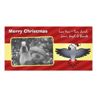 クリスマスのアフリカ灰色(中型の鳥) カード