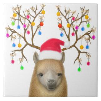 クリスマスのアルパカのタイル タイル