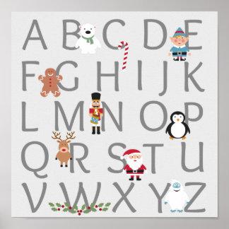 クリスマスのアルファベット ポスター