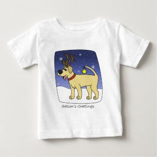 クリスマスのイエロー・ラブラドール・レトリーバーのベビー ベビーTシャツ