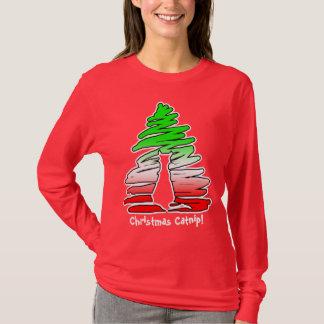 クリスマスのイヌハッカ猫のクリスマスツリー Tシャツ