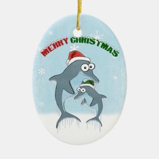 クリスマスのイルカのオーナメント セラミックオーナメント