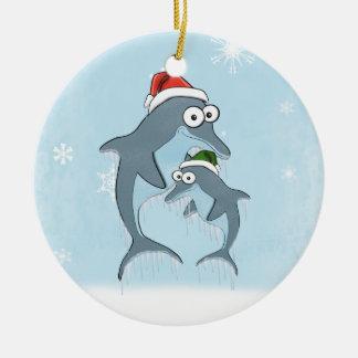 クリスマスのイルカのオーナメント(倍は味方しました) セラミックオーナメント